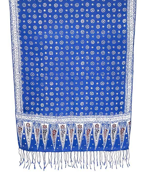 Blauwe batik zijden sjaal uit Bali