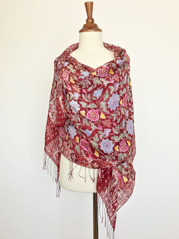 Handgemaakte zijden sjaal uit Bali