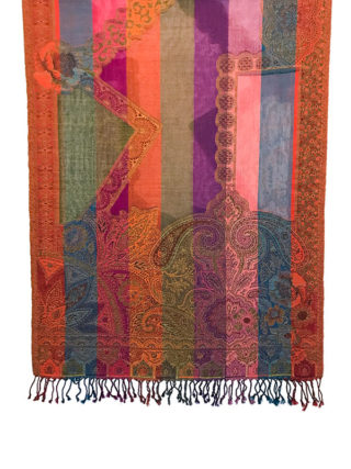 Handgeweven kleurrijke wollen sjaal uit India