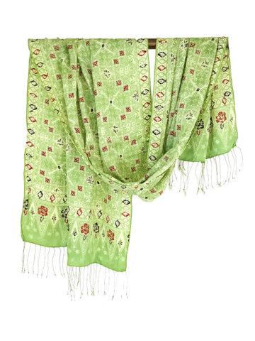 Lichtgroene batik zijden sjaal uit Bali
