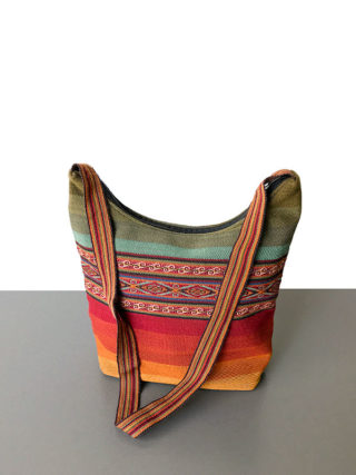 Handgemaakte wollen schoudertas uit Peru