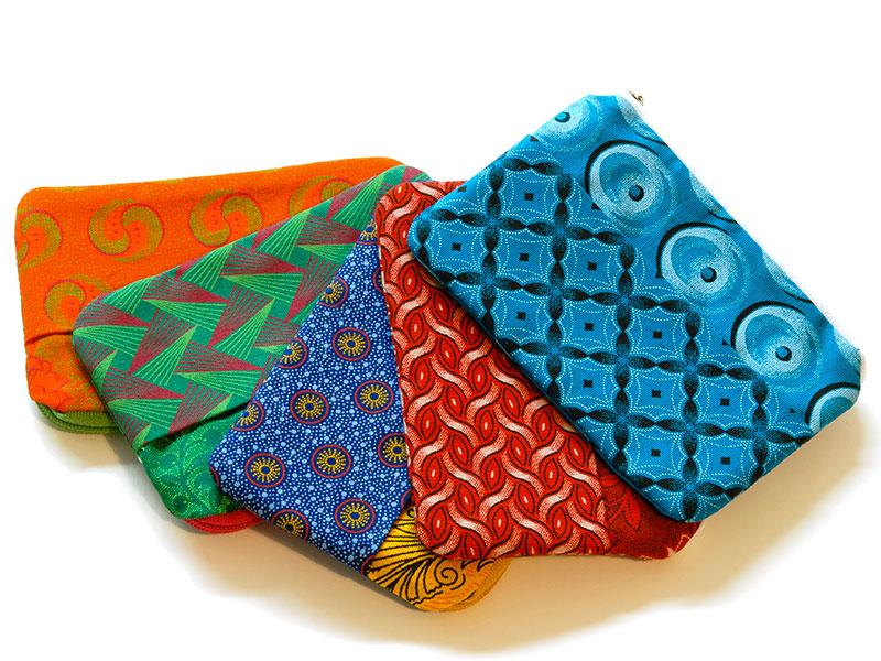 Portemonneetje van Shweshwe stof uit Zuid-Afrika