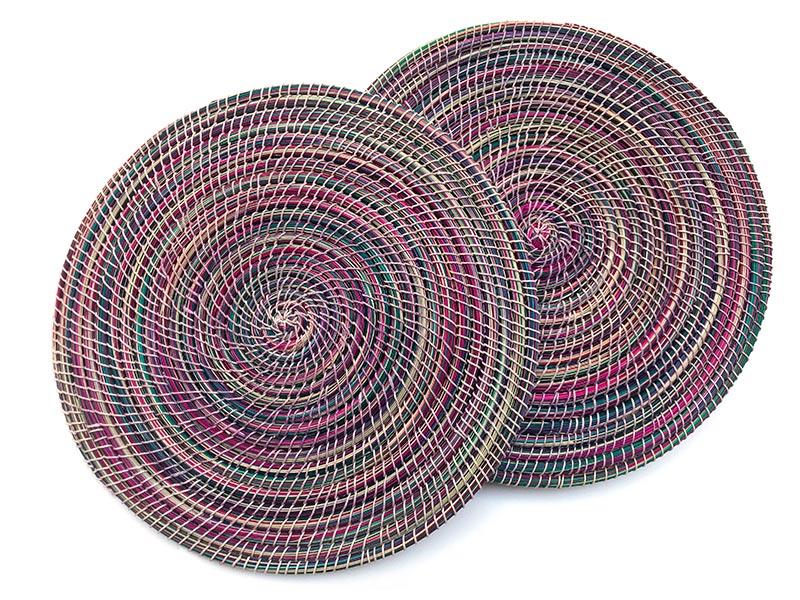 Set van twee handgeweven placemats uit Lesotho